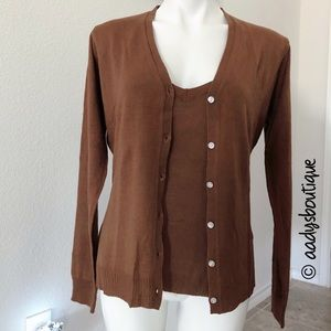 BROWN 2PIECE KNIT CARDIGAN SIZE M NWOT